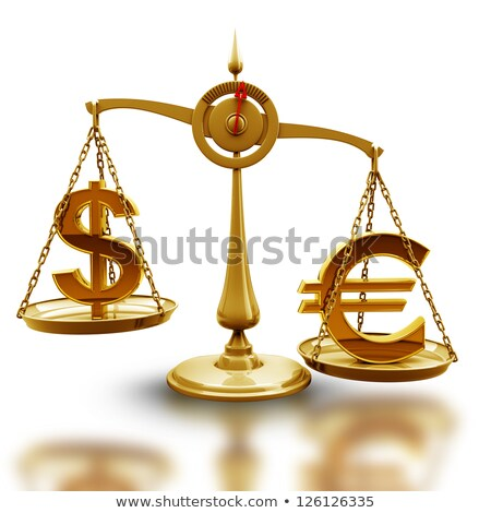 Silver scales with weights with symbols of dollar and euro Stock photo © Serp