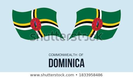 Botão símbolo Dominica bandeira mapa branco Foto stock © mayboro1964