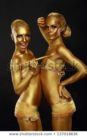 Gyönyörű nő színpad smink jelmez stúdió nő Stock fotó © Pilgrimego