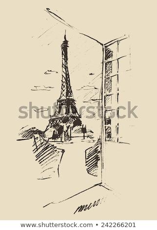 Window view from Paris window, Eiffel tower, hand drawn Stock photo © BlueLela