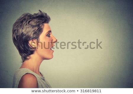 Nő beszél hang ki nyitva száj Stock fotó © ichiosea