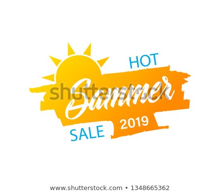 summer sale with sun sign yellow and orange drawn label stock photo © marinini