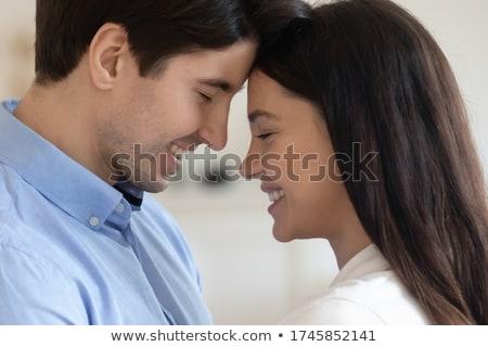 pillanat · gyengédség · férfi · boldog · házas · csók - stock fotó © barabasa