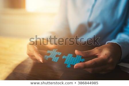 Logika kék puzzle fehér gondolkodik gondolkodik Stock fotó © tashatuvango