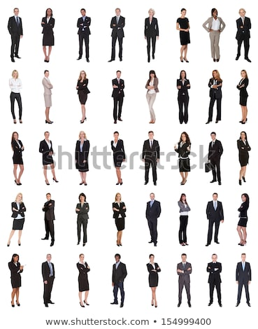 businesswoman standing arms crossed over white background stock photo © andreypopov