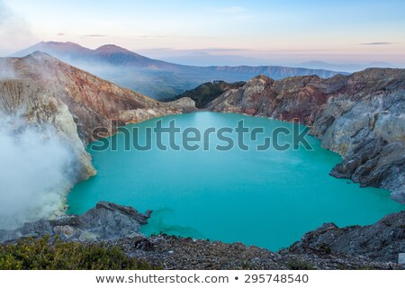 Sulphatic lake in a crater of volcano Ijen, Java, Indonesia Stock photo © JanPietruszka