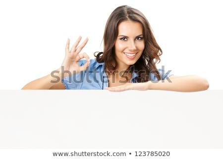 fiatal · nő · mutat · ok · felirat · izolált · fehér - stock fotó © id7100