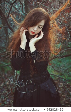 Autumn country sunset - long red hair woman stock photo © CandyboxPhoto