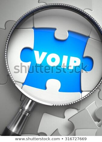 Stockfoto: Voip · vermist · puzzel · stuk · vergrootglas · stem