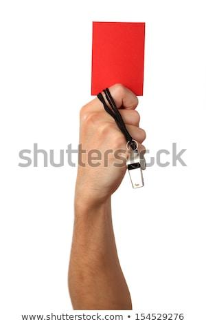 üzletember · mutat · piros · kártya · izolált · fehér - stock fotó © tetkoren