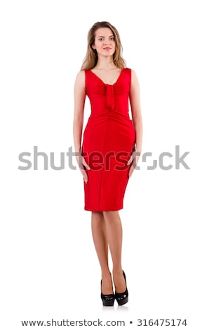 Blondie in red dress isolated on white Stock photo © Elnur