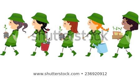 Lány felderítő fa ültet illusztráció hordoz Stock fotó © lenm