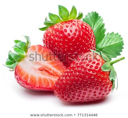 イチゴ · 孤立した · 白 · 自然 · 緑 · デザート - ストックフォト © laky981