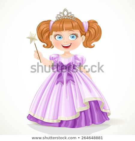 cute girl in purple masquerade dress isolated on white stock photo © elnur