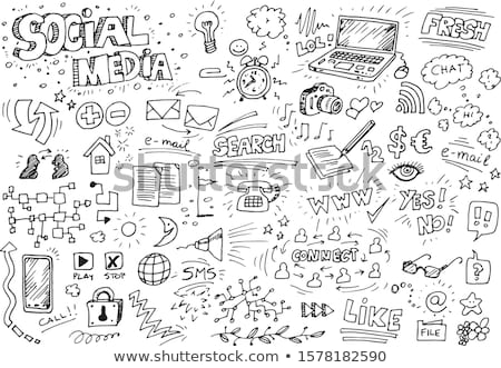 Hand drawn sketch of doodle phone Stock photo © netkov1