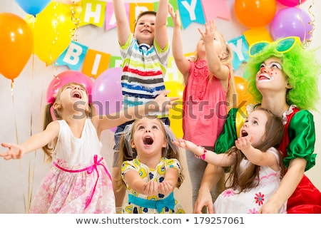 Stock photo: Clown at children birthday party with kids