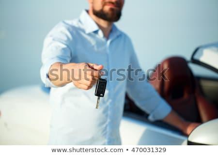 férfi · gyújtás · kulcs · autó · kerék · kéz - stock fotó © vlad_star