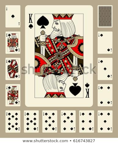 Spade poker kaart vintage stijl bloem Stockfoto © carodi