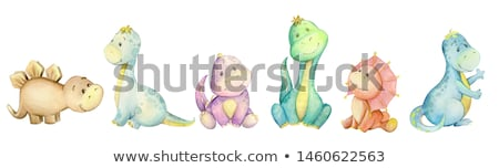 aranyos · minta · színes · különböző · dinoszaurusz · vektor - stock fotó © adrian_n