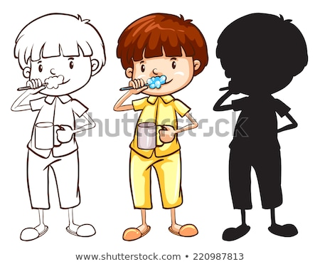 A sketch of a boy toothbrushing in different colours Stock photo © bluering