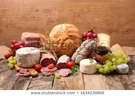 Foto stock: Uva · pão · queijo · café · da · manhã · oliva · jantar