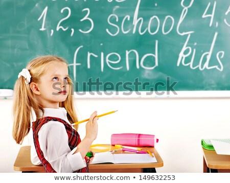 Kezdet felfelé szöveg iskola tábla kréta Stock fotó © fuzzbones0