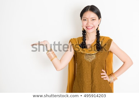 Indian Chinese woman palms showing something stock photo © szefei