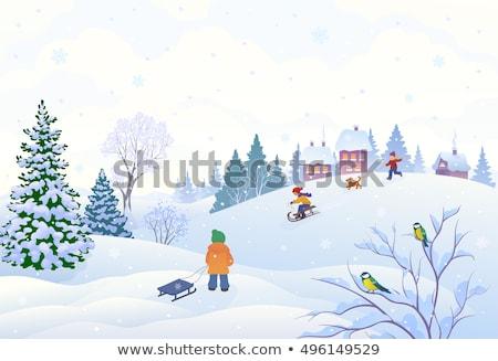garçon · fille · ski · enfant · art · hiver - photo stock © vectorikart