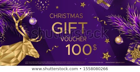 Luxus lila karácsony utalvány arany golyók Stock fotó © liliwhite
