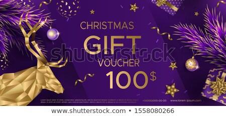 luxury purple christmas voucher with golden christmas balls stock photo © liliwhite