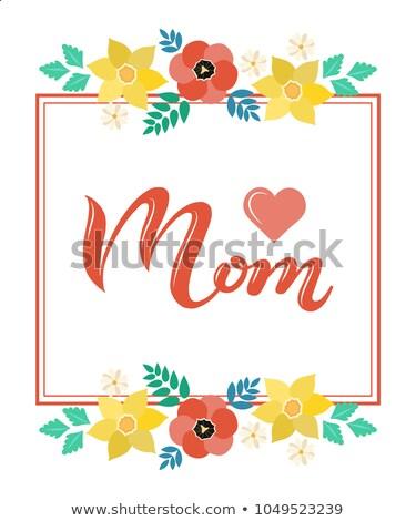 Kártya sablon virágok körül keret illusztráció Stock fotó © bluering