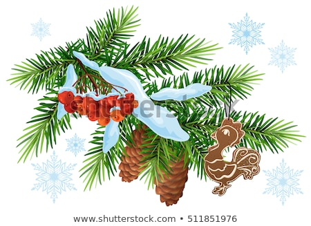 Christmas decoration. Fir branch, gingerbread rooster and rowan berries under snow Stock photo © orensila