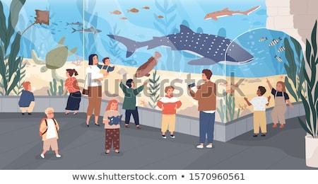 Illustratie aquarium vis glas Blauw silhouet Stockfoto © adrenalina