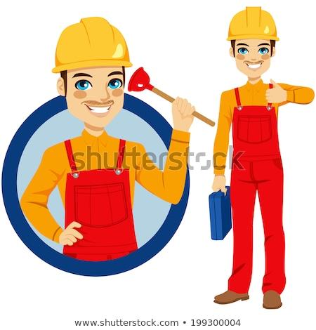 Klempner halten Werkzeugkasten weiblichen WC Stock foto © RAStudio