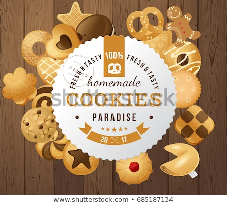 Chocolate Christmas Cookies Isolated On A White Background Vecto Stock photo © mart