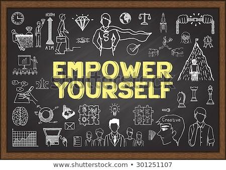 hand drawn educate yourself concept on chalkboard stock photo © tashatuvango
