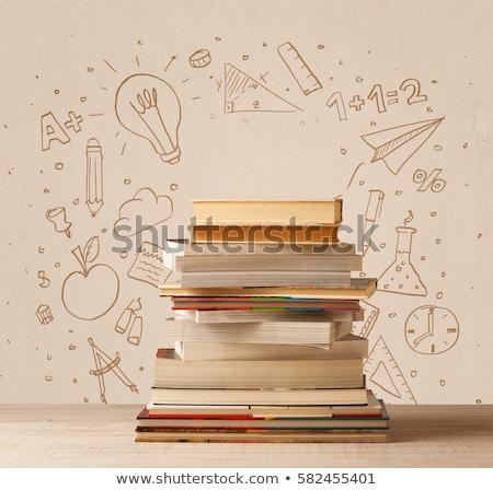 tábla · vissza · az · iskolába · szöveg · iskolatábla · könyv · iskola - stock fotó © sonya_illustrations