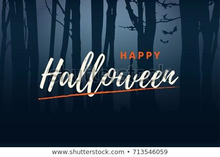 Boldog halloween kézírás szöveg logo éjszaka Stock fotó © thecorner