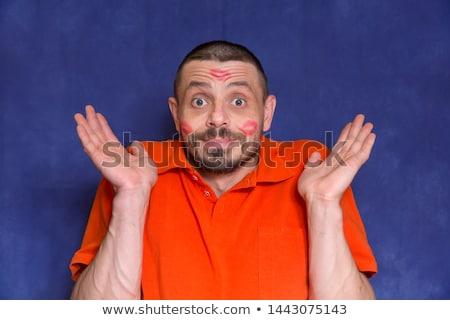 megszégyenített · férfi · rúzs · arc · szeretet · szexuális - stock fotó © studiostoks