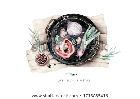 Watercolor set of green and black radish Stock photo © Sonya_illustrations