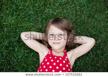 Kislány fű illusztráció boldog gyermek diák Stock fotó © colematt