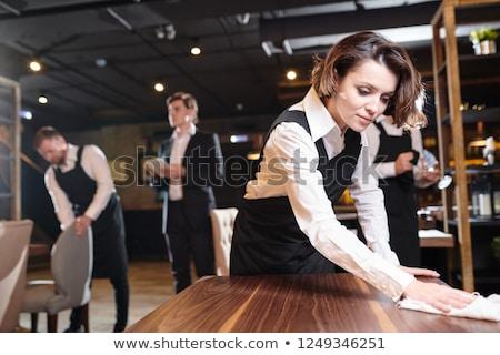 pincérnő · étterem · étel · bor · haj · pár - stock fotó © wavebreak_media