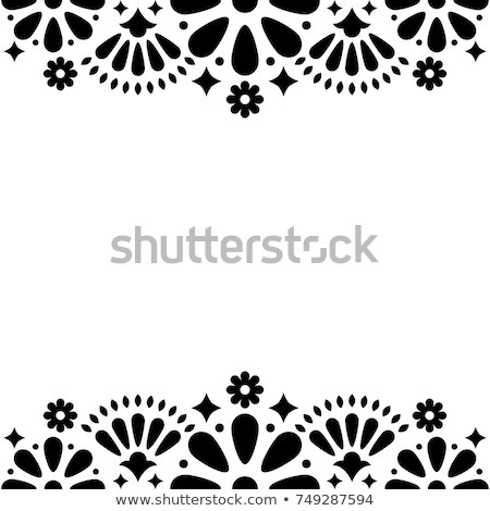 Mexican folk vector wedding or party invitation, floral happy greeting card, black and white frame Stock photo © RedKoala