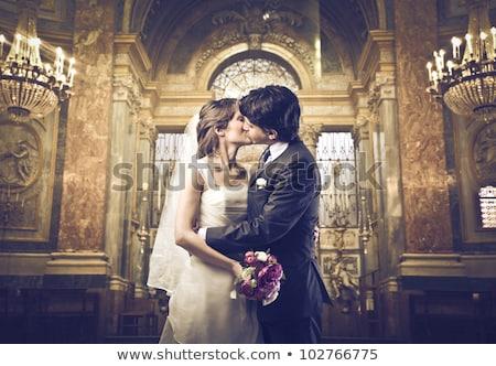Menyasszony csók vőlegény virág család esküvő Stock fotó © IS2