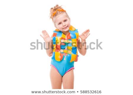 Mooie meisje Blauw zwemmen pak kleurrijk Stockfoto © Traimak