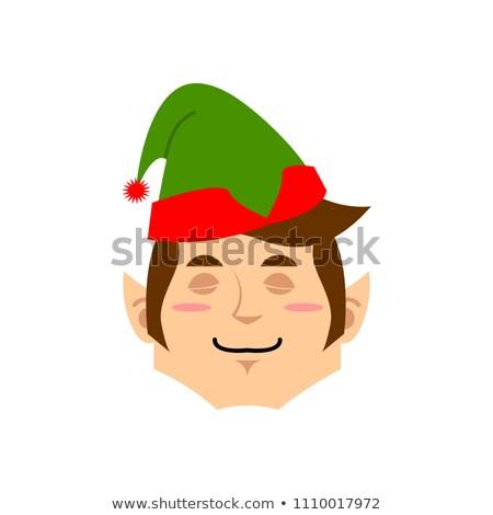 Christmas Elf sleeping Emoji. Santa helper asleep emotion . Stock photo © popaukropa