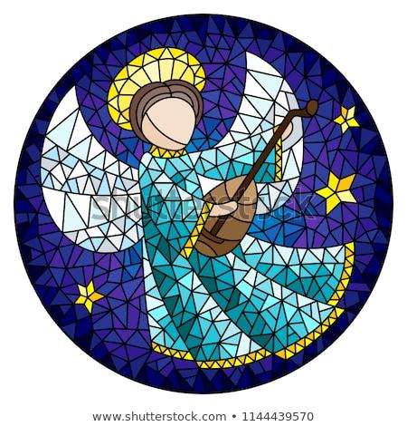 Witraże anioł róż ilustracja cherub Zdjęcia stock © lenm