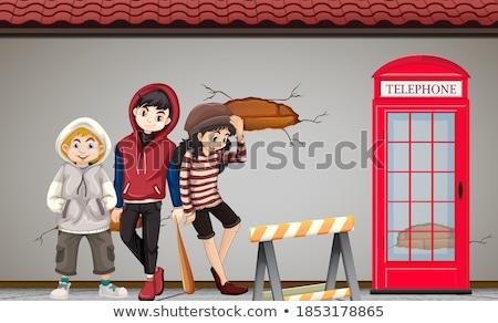 Wiele dzieci stałego bruk ilustracja miasta Zdjęcia stock © bluering