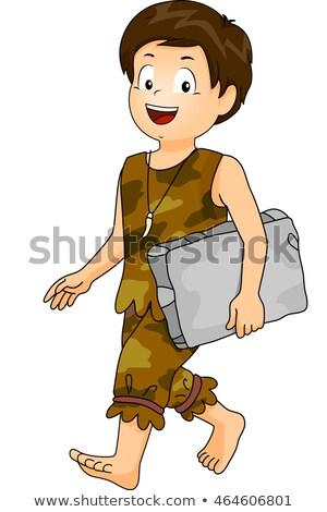 Kid Caveman Boy Student Block Stock photo © lenm