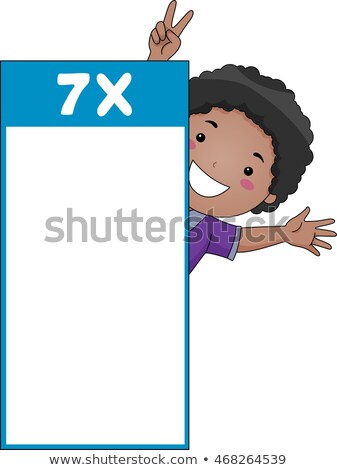 Kid Boy Multiplication Table Flash Card Seven Stock photo © lenm
